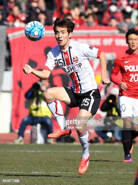 Lee Seok Hyun of FC Seoul in action during the preseason friendly between Urawa Red Diamonds and FC Seoul at Urawa Komaba Stadium on February 12,...