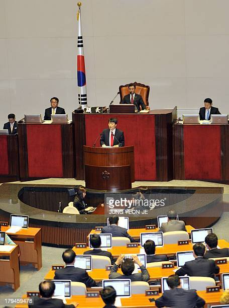 Lee SeokKi a leftist lawmaker from South Korea's United Progress Party speaks during a parliamentary session to vote on a government motion for his...