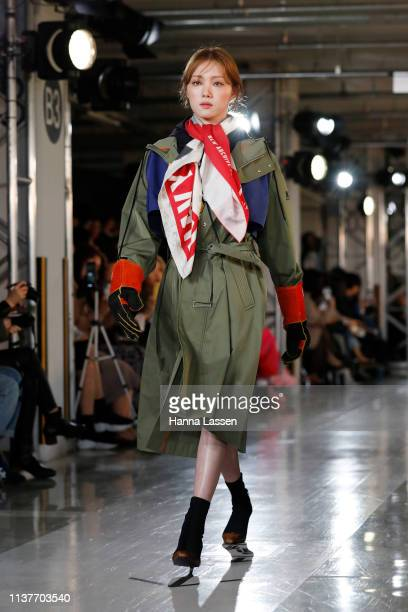 Lee Seong-Gyeong showcases designs on the runway during the Beyond Closet show as part of HERA Seoul Fashion Week A/W 2019 on March 23, 2019 in...