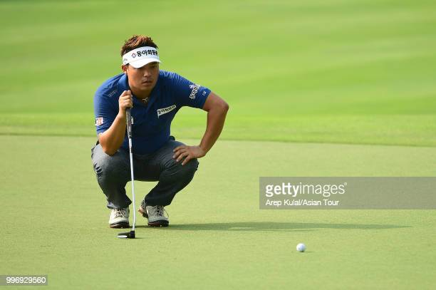 Lee Seungtaek of Korea pictured during the first round of the Bank BRI Indonesia Open at Pondok Indah Golf Course on July 12 2018 in Jakarta Indonesia