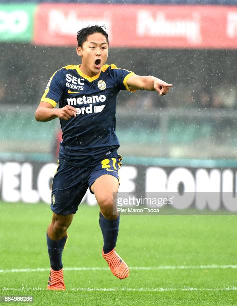 Lee SeungWoo of Hellas Verona gestures during the Serie A match between AC Chievo Verona and Hellas Verona FC at Stadio Marc'Antonio Bentegodi on...