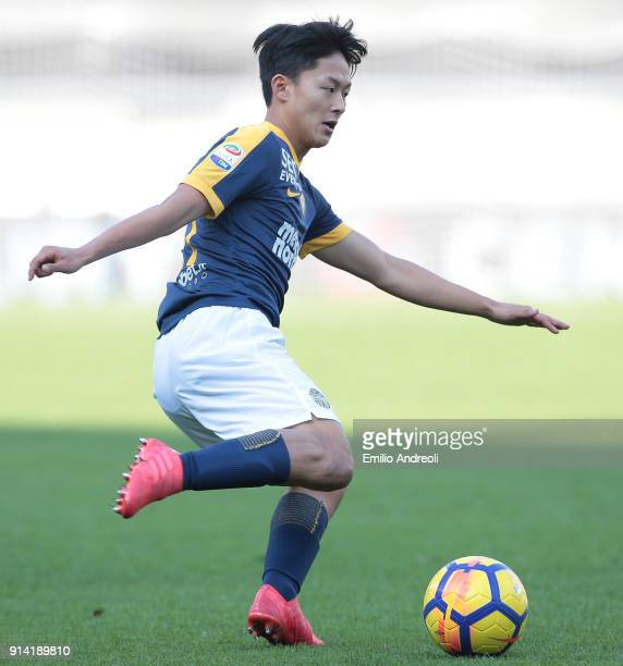 Lee SeungWoo of Hellas Verona in action during the serie A match between Hellas Verona FC and AS Roma at Stadio Marc'Antonio Bentegodi on February 4...
