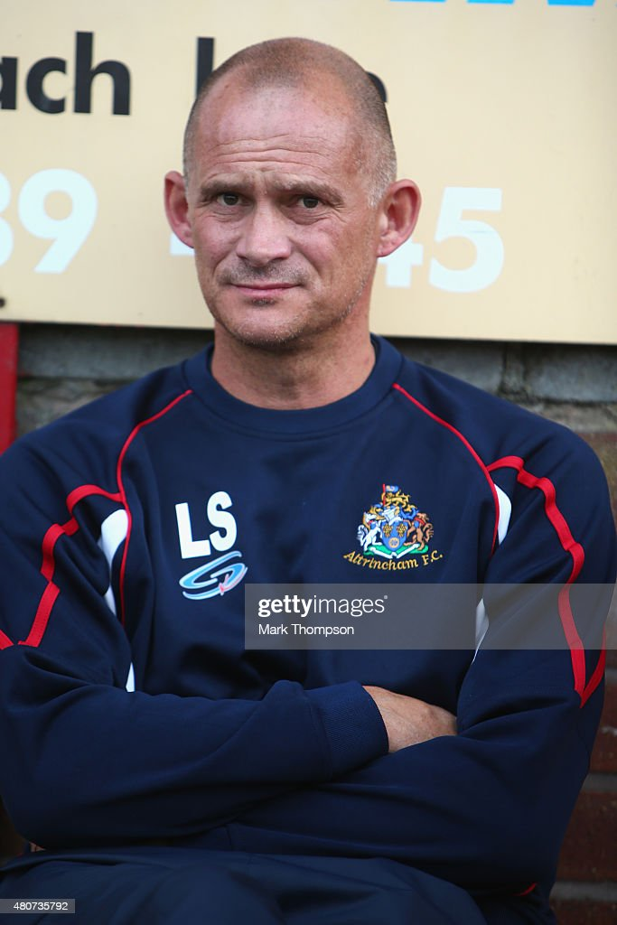 Lee Sinnott the manager of Altrincham football club in action during the pre season friendly between Altrincham and Wigan Athletic at the J Davidson stadium on July 14, 2015 in Altrincham, England.
