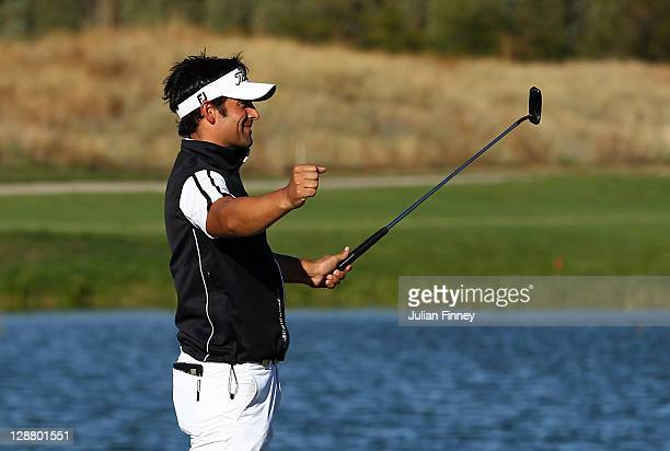 Lee Slattery of England celebrates winning after his final putt on the 18th during round four of the Madrid Masters Golf at El Encin Golf Hotel on...
