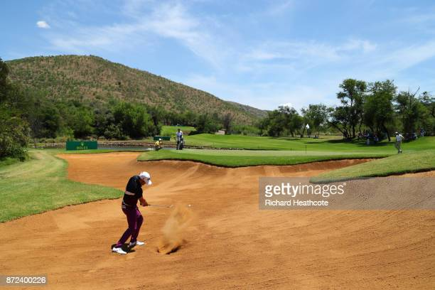 Lee Slattery of England hits from a bunker on the 4th hole during the second round of the Nedbank Golf Challenge at Gary Player CC on November 10...
