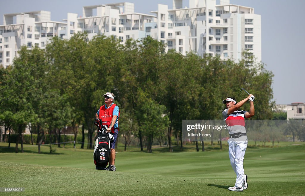 Lee Slattery of England in action during day four of the Avantha Masters at Jaypee Greens Golf Club on March 17, 2013 in Delhi, India.