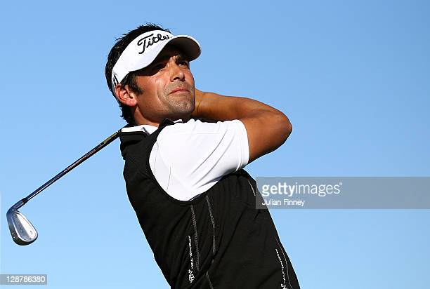 Lee Slattery of England in action during round three of the Madrid Masters Golf at El Encin Golf Hotel on October 8 2011 in Madrid Spain