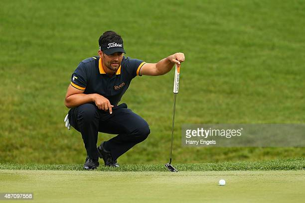 Lee Slattery of England lines up a putt on the first hole on day four of the M2M Russian Open at Skolkovo Golf Club on September 6 2015 in Moscow...
