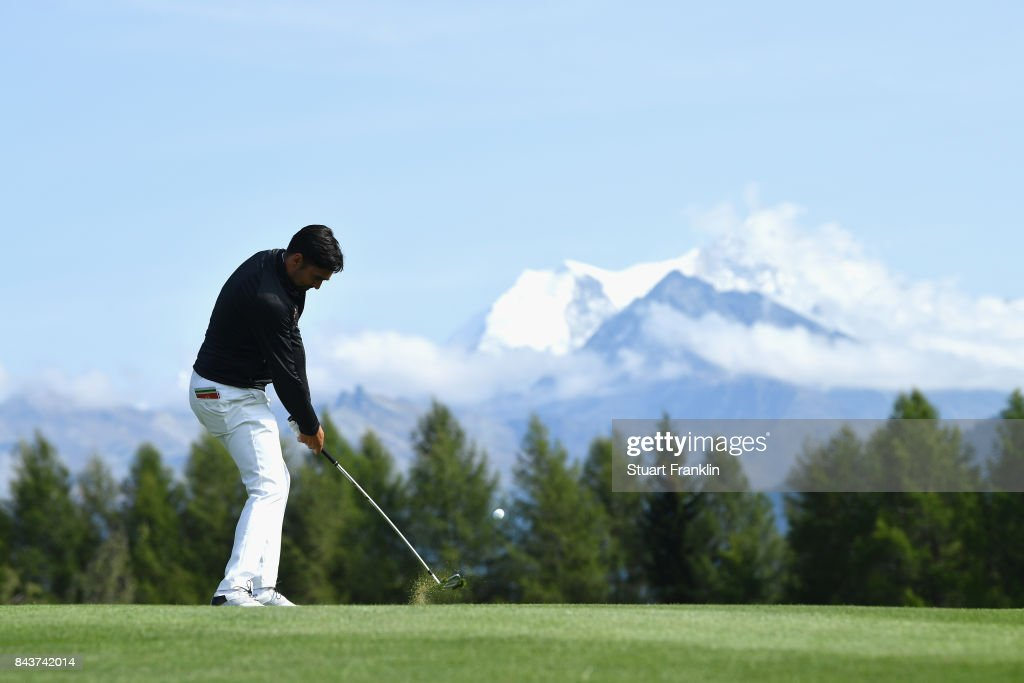 Lee Slattery of England on the 12th during day one of the 2017 Omega European Masters at Crans-sur-Sierre Golf Club on September 7, 2017 in Crans-Montana, Switzerland.