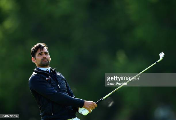 Lee Slattery of England on the 15th during day one of the 2017 Omega European Masters at CranssurSierre Golf Club on September 7 2017 in CransMontana...