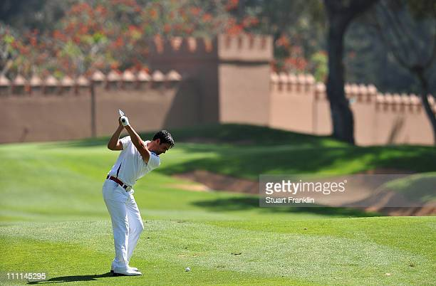 Lee Slattery of England plays a shot during practice prior to the start of the Trophee du Hassan II Golf at the Golf du Palais Royal on March 30 2011...