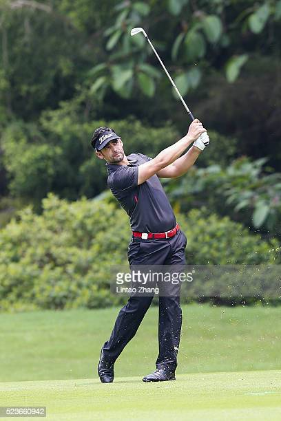 Lee Slattery of England plays a shot during the final round of the Shenzhen International at Genzon Golf Club on April 24 2016 in Shenzhen China