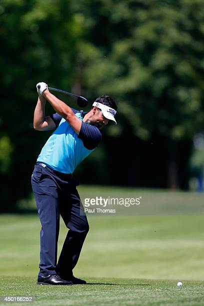 Lee Slattery of England plays a shot during the Lyoness Open day two at the Diamond Country Club on June 6 2014 in Atzenbrugg Austria