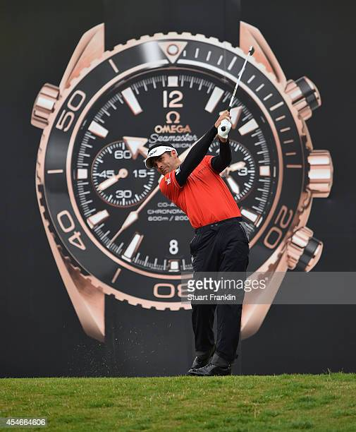 Lee Slattery of England plays a shot during the second round of the Omega European Masters at CranssurSierre Golf Club on September 5 2014 in...