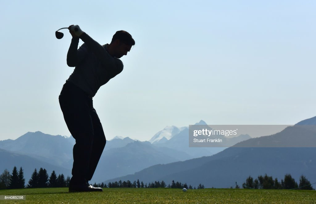 Lee Slattery of England plays a shot during the second round of the Omega European Masters at Crans-sur-Sierre Golf Club on September 8, 2017 in Crans-Montana, Switzerland.