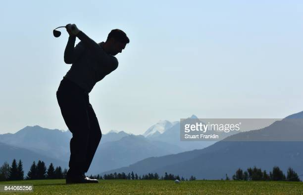 Lee Slattery of England plays a shot during the second round of the Omega European Masters at CranssurSierre Golf Club on September 8 2017 in...