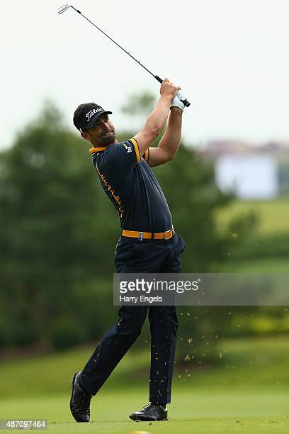 Lee Slattery of England plays his second shot on the sixth hole on day four of the M2M Russian Open at Skolkovo Golf Club on September 6 2015 in...