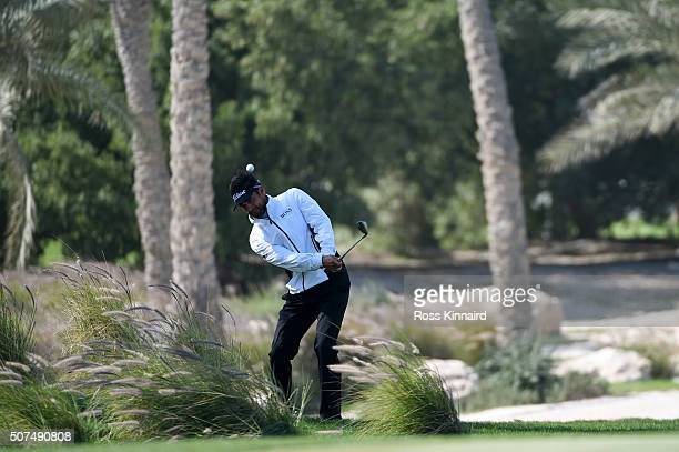Lee Slattery of England plays his third on the 1st during the final round of the Commercial Bank Qatar Masters at the Doha Golf Club on January 30...