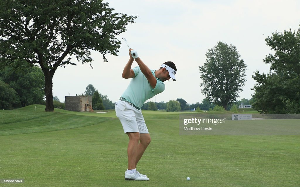 Lee Slattery of England plays his third shot on the 1st hole during the Pro-Am of The 2018 Shot Clock Masters at Diamond Country Club on June 6, 2018 in Atzenbrugg, Austria.