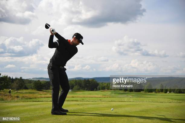 Lee Slattery of England tees off on the 11th hole during the final round on day four of the DD REAL Czech Masters at Albatross Golf Resort on...