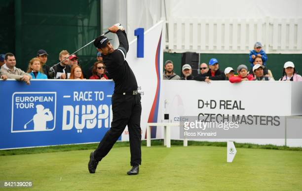 Lee Slattery of England tees off on the 1st hole during the final round on day four of the DD REAL Czech Masters at Albatross Golf Resort on...