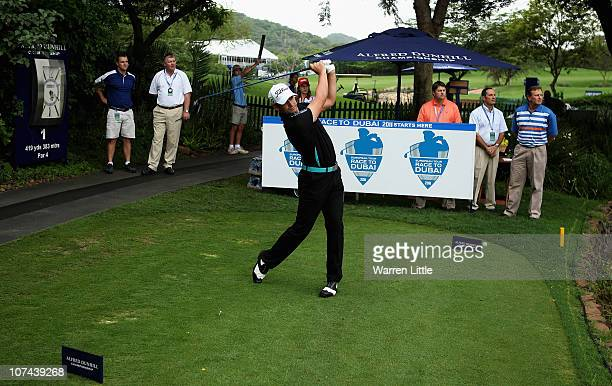 Lee Slattery of England tees off on the first hole during the first round of the Alfred Dunhill Championship at Leopard Creek on December 9 2010 in...
