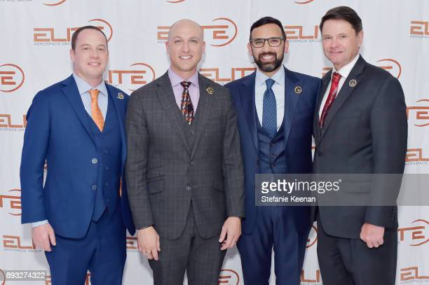 Lee Smith Dustin Tillman Zeeshawn Zia and Michael Forbes attend Elite Aerospace Group's 4th Annual Aerospace Defense Symposium at Lyon Air Museum on...