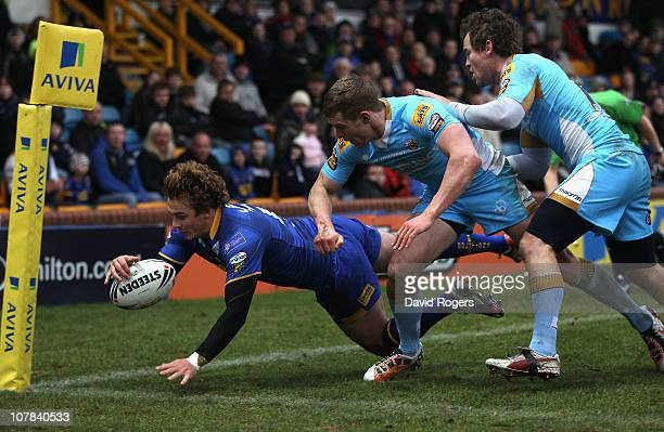 Lee Smith of Leeds Rhinos dives over for a try during the pre season friendly match between Leeds Rhinos and Wakefield Trinity Wildcats at Headingley...