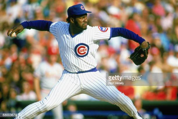 Lee Smith of the Chicago Cubs delivers a pitch during a game. Lee Smith played for the Chicago Cubs from 1980-1987.
