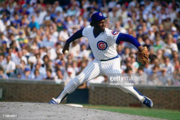 Lee Smith of the Chicago Cubs pitching to the Montreal Expos at Wrigley Field during a regular season game on September 12 l984 in Chicago Illinois