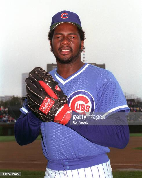 Lee Smith of the Chicago Cubs poses before a MLB game during the 1986 season at Wrigley Field in Chicago Illinois Lee Smith played for the Chicago...