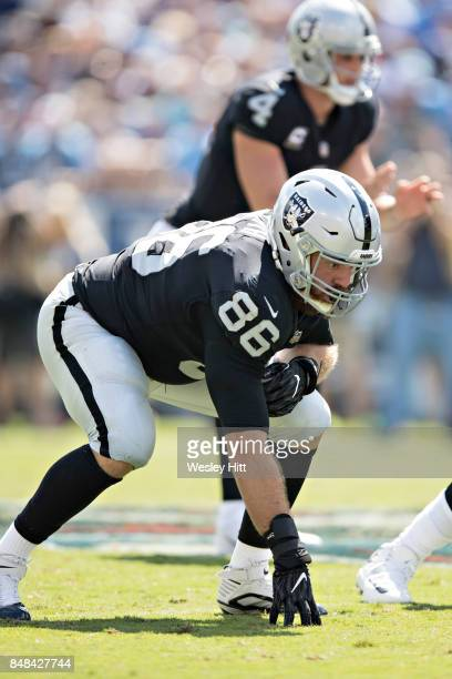 Lee Smith of the Oakland Raiders at the line of scrimmage during a game against the Tennessee Titans at Nissan Stadium on September 10 2017 in...