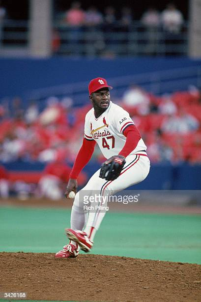 Lee Smith of the St Louis Cardinals on the mound during a 1990 season game