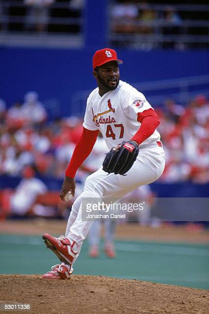 Lee Smith of the St Louis Cardinals pitches during a game in August 1992 at Busch Stadium in St Louis Missouri