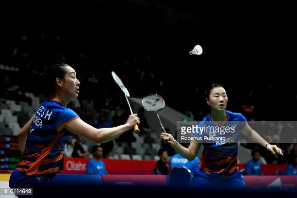 Lee So Hee and Shin Seung Chan of Korea compete against Febriana Dwipuji Kusuma and Ribka Sugiarto of Indonesia during Women's Doubles Round 16 match...