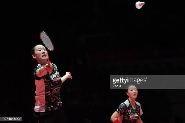 Lee So Hee and Shin Seung Chan of Korea compete against Misaki Matsutomo and Ayaka Takahashi of Japan during their women's doubles final match on day...