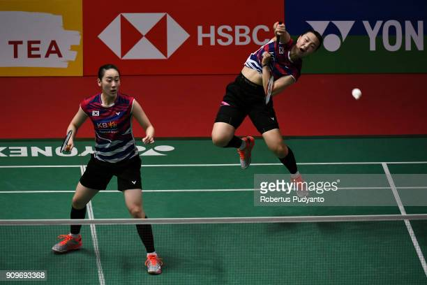 Lee So Hee and Shin Seung Chan of Korea compete against Tang Jin Hua and Yu Xiao Han of China during Women Doubles Round 32 match of the Daihatsu...