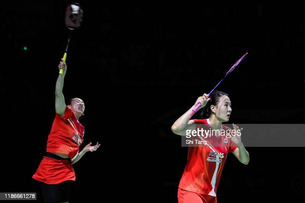 Lee So Hee and Shin Seung Chan of Korea compete in the Women's Double final match against Yuki Fukushima and Sayaka Hirota of Japan on day six of the...