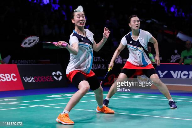 Lee So Hee and Shin Seung Chan of Korea compete in the Women's Doubles quarter finals match against Mayu Matsumoto and Wakana Nagahara of Japan on...