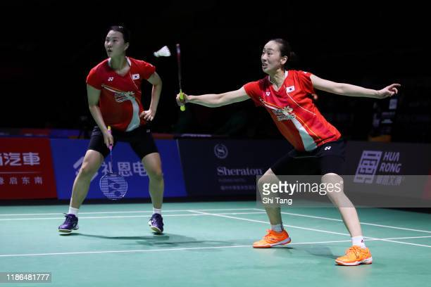 Lee So Hee and Shin Seung Chan of Korea compete in the Women's Doubles semi finals match against Mayu Matsumoto and Wakana Nagahara of Japan on day...