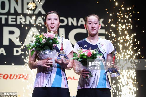 Lee So Hee and Shin Seung Chan of Korea pose with their trophies after the Women's Double final match against Kim So Yeong and Kong Hee Yong of Korea...
