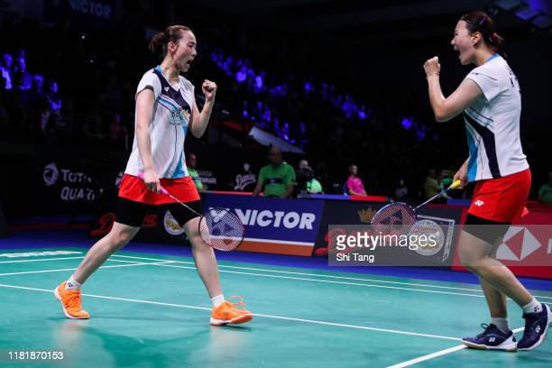 Lee So Hee and Shin Seung Chan of Korea react in the Women's Doubles quarter finals match against Mayu Matsumoto and Wakana Nagahara of Japan on day...