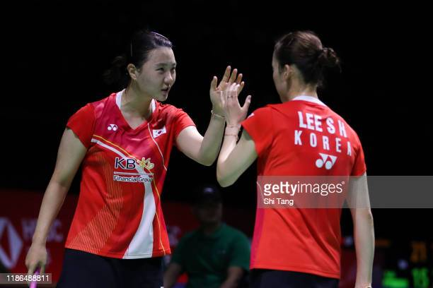 Lee So Hee and Shin Seung Chan of Korea react in the Women's Doubles semi finals match against Mayu Matsumoto and Wakana Nagahara of Japan on day...