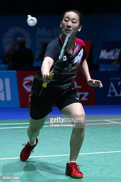 Lee So Hee of Korea in action during the women's doubles match against Luo Ying and Luo Yu of China on Day One of the BWF Dubai World Superseries...