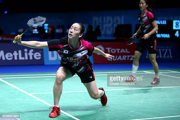 Lee So Hee of Korea in action during the womens doubles match against Naoko Fukuman and Kurumi Yonao of Japan on Day Two of the BWF Dubai World...