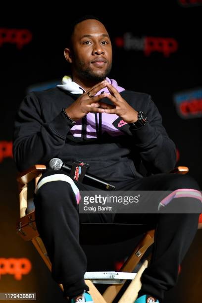 J Lee speaks on stage during Hulu's The Orville at New York Comic Con 2019 Day 4 at Jacob K Javits Convention Center on October 06 2019 in New York...