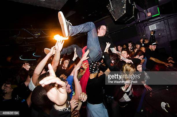 Lee Spielman of the Sacramento California hardcore band Trash Talk crowdsurfs at the Rock and Roll Hotel on Tuesday