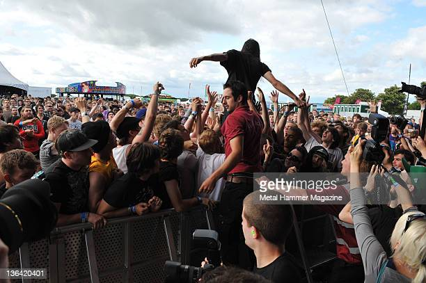 Lee Spielman of Trash Talk live on stage at Hevy Music Festival in Hythe on August 7 2010