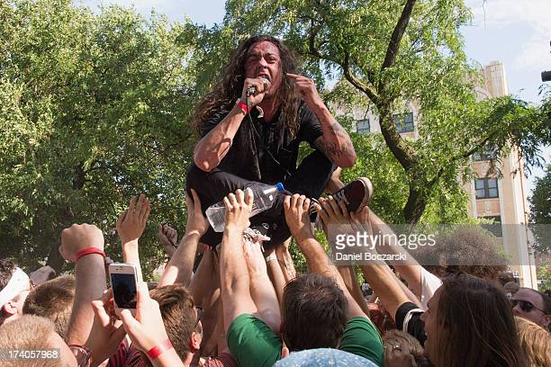 Lee Spielman of Trash Talk performs on stage on Day 1 of Pitchfork Music Festival 2013 at Union Park on July 19 2013 in Chicago Illinois