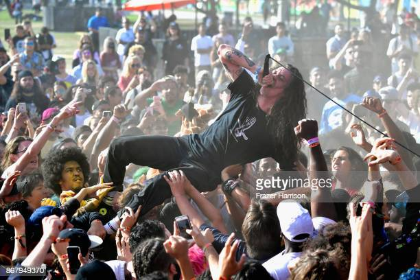 Lee Spielman of Trash Talk performs on the Flog Stage during day 2 of Camp Flog Gnaw Carnival 2017 at Exposition Park on October 29 2017 in Los...